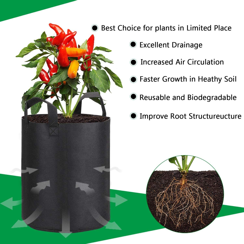 PEYOU Bolsa de Cultivo de Plantas 45L(5 Piezas), Saco para Plantas ...