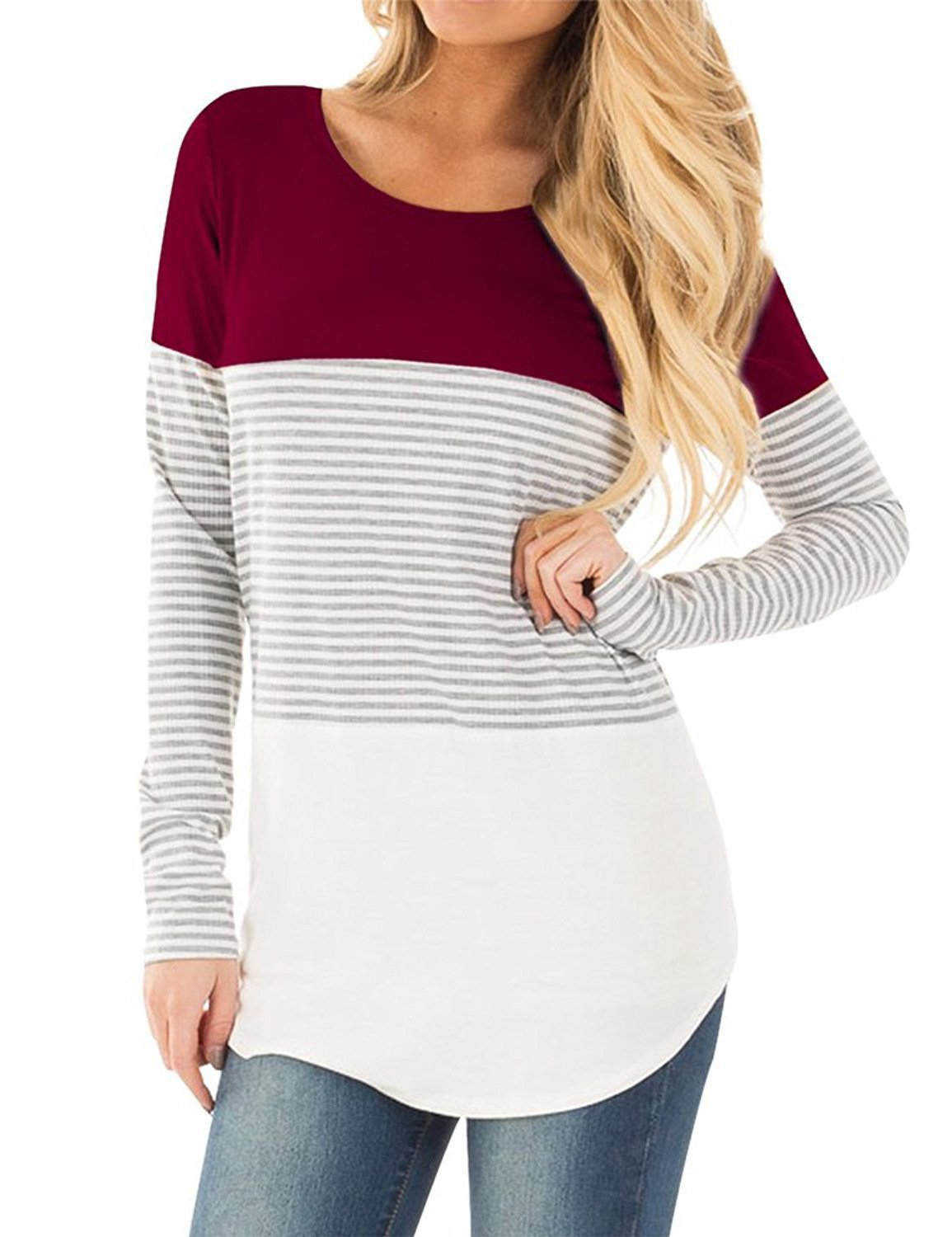 Naier Womens Tee Shirts Long Sleeve Color Splicing Top (Wine Red,L)