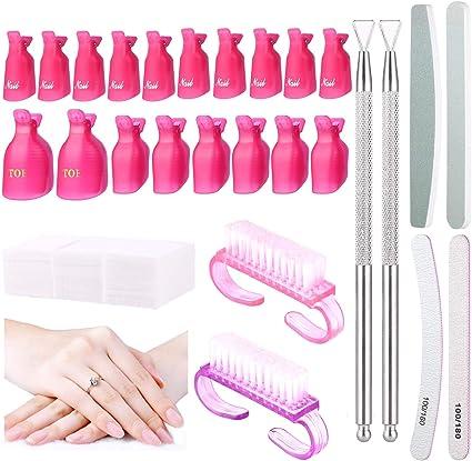 20 clips para quitar uñas, 4 piezas de pulidor de uñas, 2 piezas ...