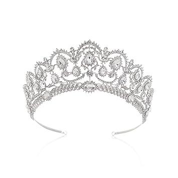 Amazon Com Sweetv Crystal Silver Crown For Women Rhinestone