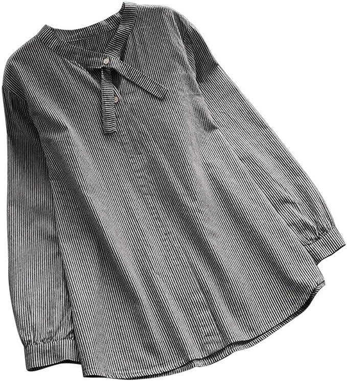 Vectry Mujer Corbata Cuello Casual Camisa Larga Tops Botones De ...