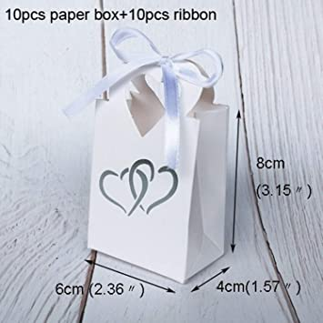 Amazon.com: JEWH Mini bolsas de papel con lazo Hot Stamping ...