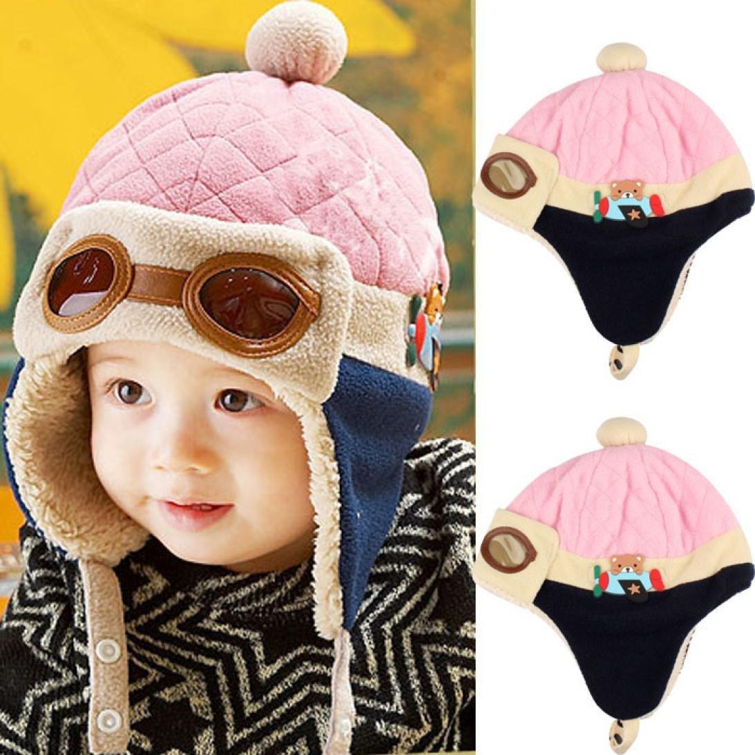 0cd2ac519 Makaor Baby Girls Boys Hats Winter Warm Cap Hat Beanie Pilot Aviator  Crochet Earflap