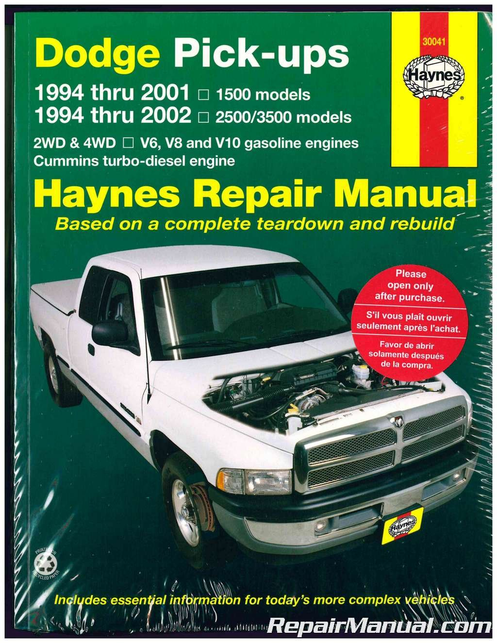 H30041 Dodge 1500 2500 3500 Pickup Truck Haynes Repair Manual 1994-2002:  Manufacturer: Amazon.com: Books