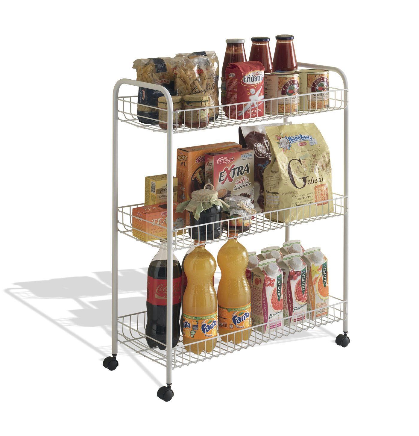 Metaltex USA Inc. Rolling Cart, White, 3-Tier 34.06.33