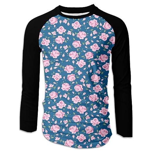 50b8b5f31 Men's Flower Simple Floral Print Rose Casual Novelty Crew Neck Long Sleeve  Raglan Baseball Tee Shirt
