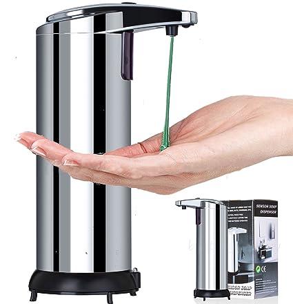 Dispensador de jabón automático, 250 ml, acero inoxidable manos libres sensor de movimiento Auto