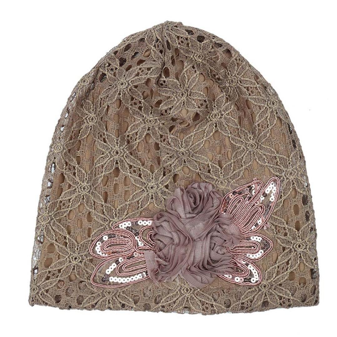 Compia Women Lace Flower Slouchy Baggy Head Cap Chemo Beanie Turban Hijab Cap
