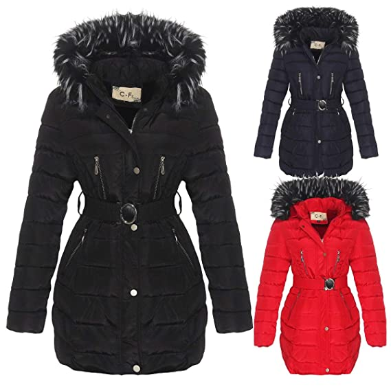 OSAB-Fashion 5385 Damen Steppjacke Steppmantel Winter Jacke Stehkragen Kapuze  Webpelz Gürtel  Amazon.de  Bekleidung f0e2cb5ee9