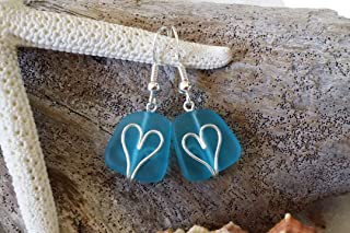product image for Handmade in Hawaii,wire wrapped heart blue sea glass earrings, gift box, gift of love, sea glass jewelry,