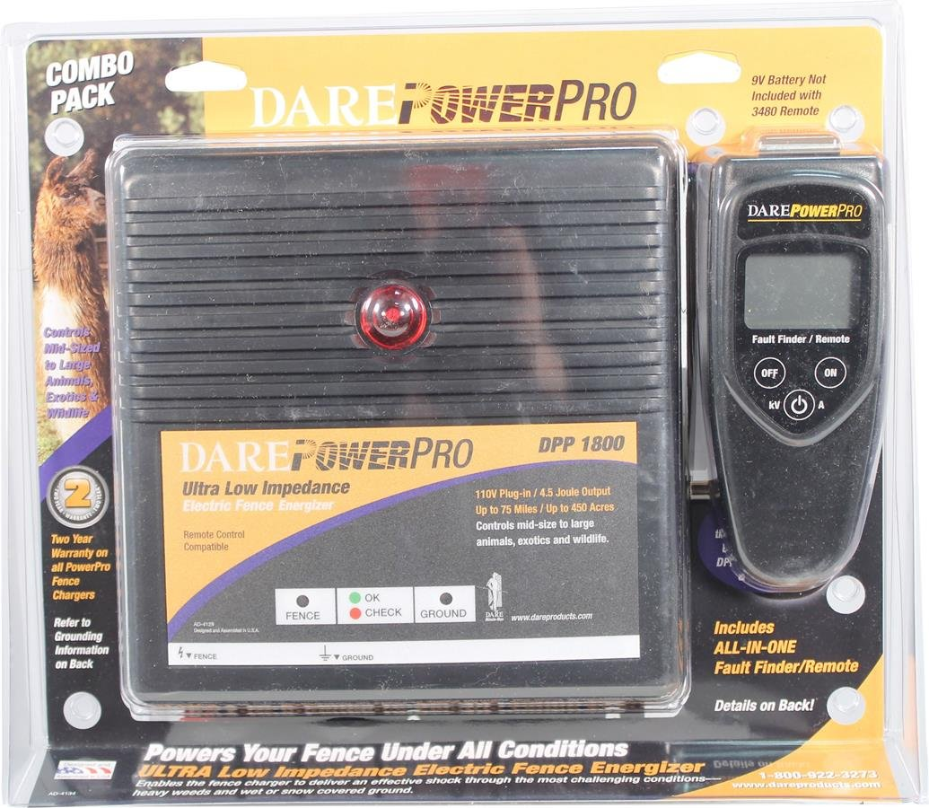DARE PRODUCTS DPP1800 831967 Power Pro Series Fence Energizer, Black, 450 Acres