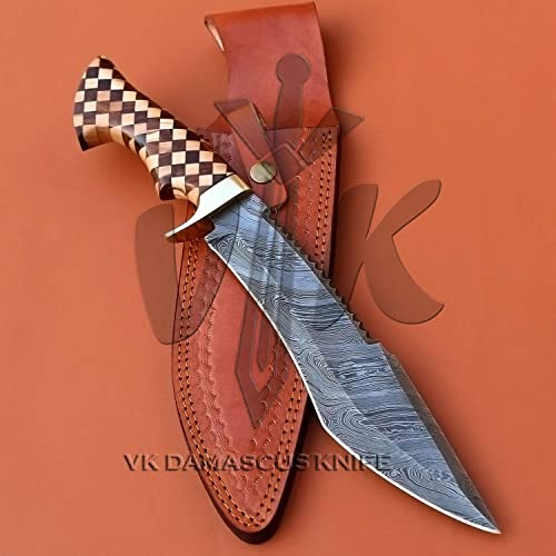 Handmade Damascus Steel Hunting Bowie Knife Walnut Wood Olive Wood Handle vk4007