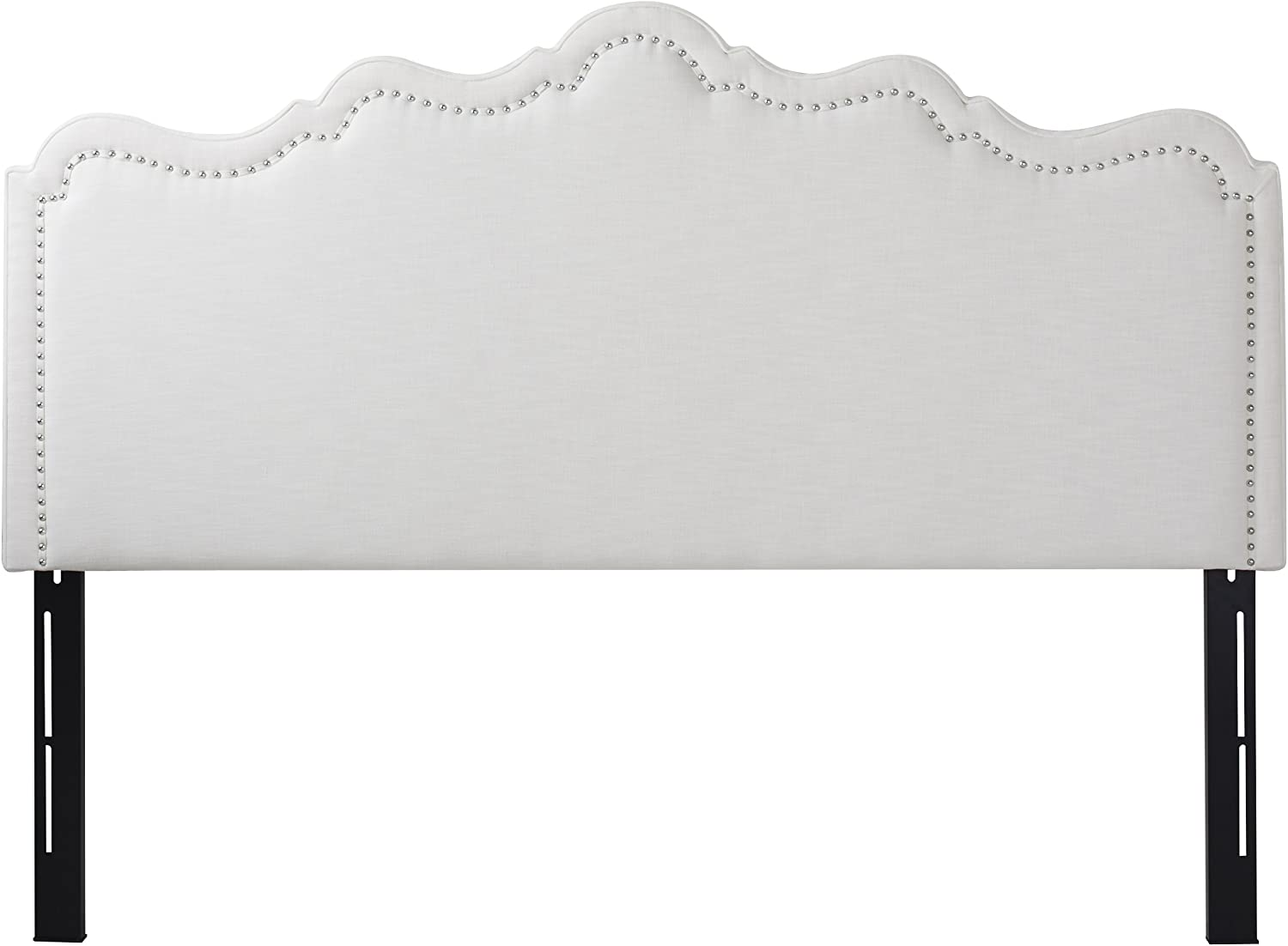 Jennifer Taylor Home Ela Collection Upholstered Nailhead Trim Designed Luxury King Size Size Headboard With Trim, King Size, Star White