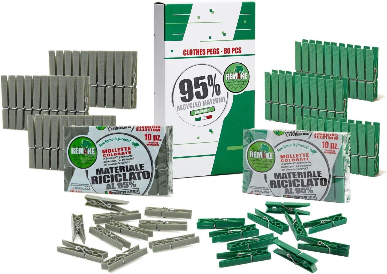 remake 40 Piezas - Pinzas Ropa Ecológico 95% con Plastico Reciclado, Talla Grande. Fuertes y a Prueba de Viento. Made in Italy. Color Verde y Gris