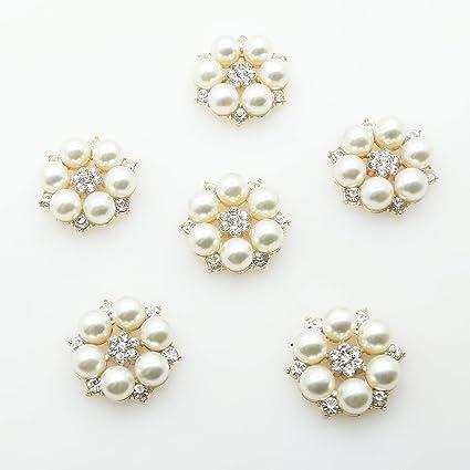 Rhinestone Crystal Button Pearl Flatback Brooch Decor Wedding Embellishment