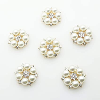 Image Unavailable. Image not available for. Color  30pcs 28mmx26mm Gold  Round Pearl Embellishment Rhinestone Pearl Button Flatback DIY ... 87389abf8344
