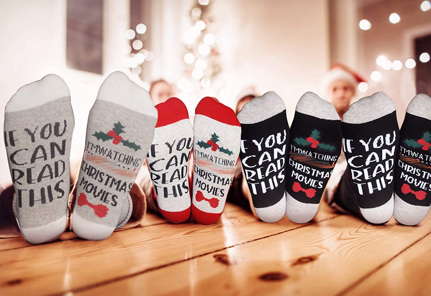 Fascigirl 4Pairs If You Can Read This Im Watching Christmas Movies Elastic Letters Printed Funny Crew Socks Christmas Casual Socks Gift for Women Men Novelty Cotton Socks
