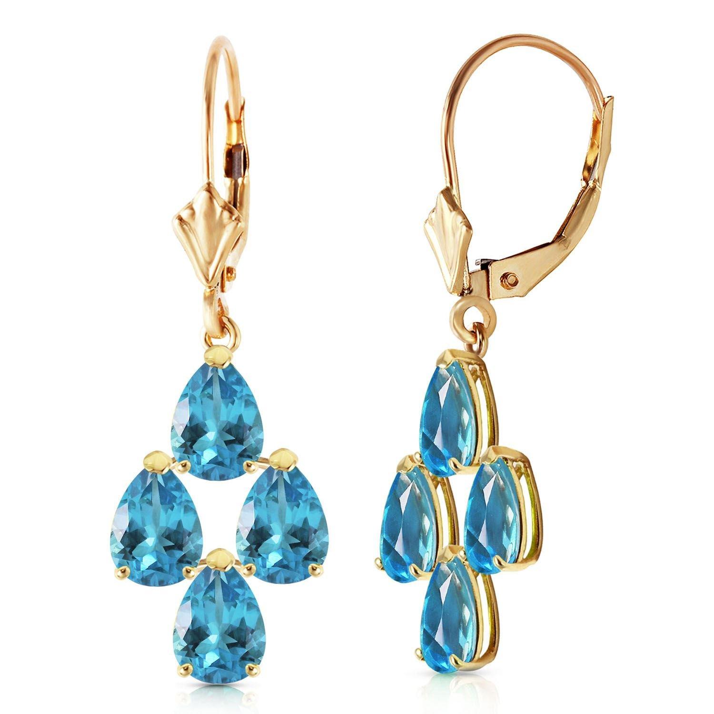 ALARRI 4.5 CTW 14K Solid Gold First Love Blue Topaz Earrings
