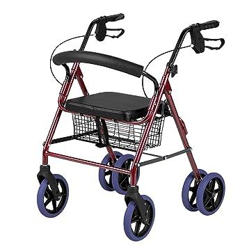 Andador ligero de paseo, plegable, con 4 ruedas, con frenos ...