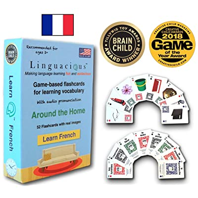 Linguacious Award-Winning Around The Home French Flashcard Game - with Audio!: Toys & Games