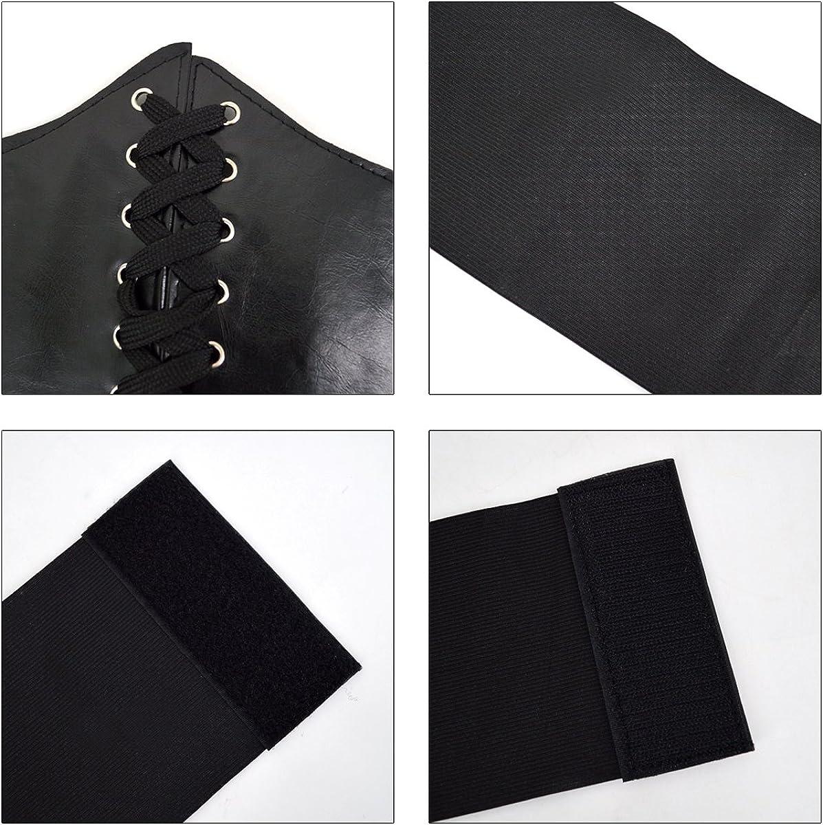 Sun Kea Lace-up Cinch Belt Tied Corset Elastic Wide Waist Belt Steampunk Underbust Waist Belt