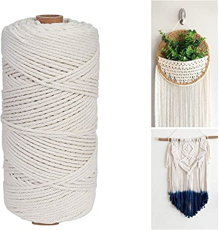 Unique Store 2mm x 100m Cuerda Cordel de Algodón Hilo Macramé 100% Natural Trenzado Algodón DIY Planta de Colgar en la Pared Percha Hecha a Mano Craft para Decoración Interior Decoración Bohemia: