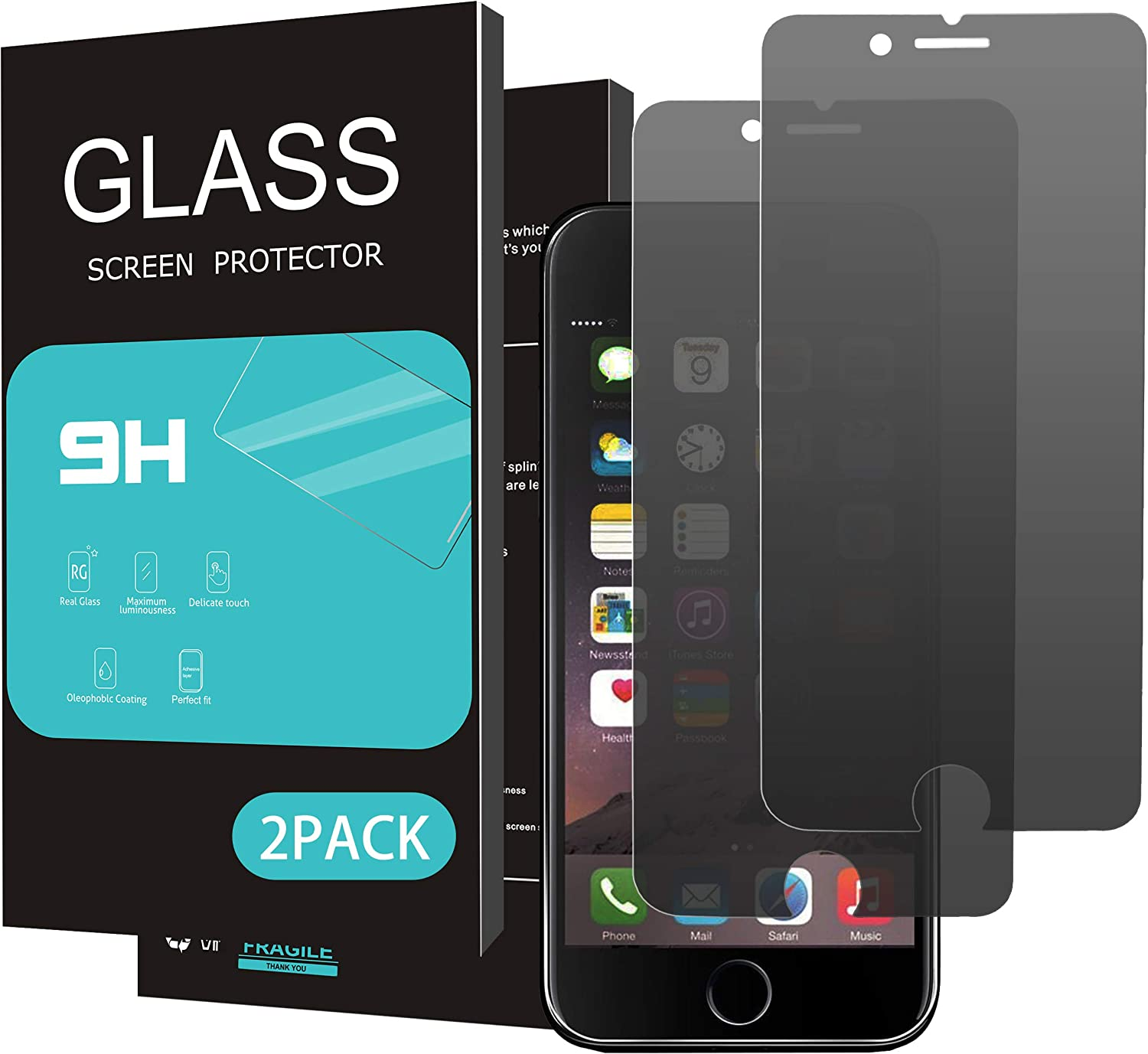 HOMEMO Privacy Screen Protector for iPhone 8 Plus 7 Plus Full Coverage,Anti-Spy,Anti-Glare,[2 Pack] 2.5D Edge Tempered Glass for iPhone 8/7 Plus,Anti-Scratch,Case Friendly