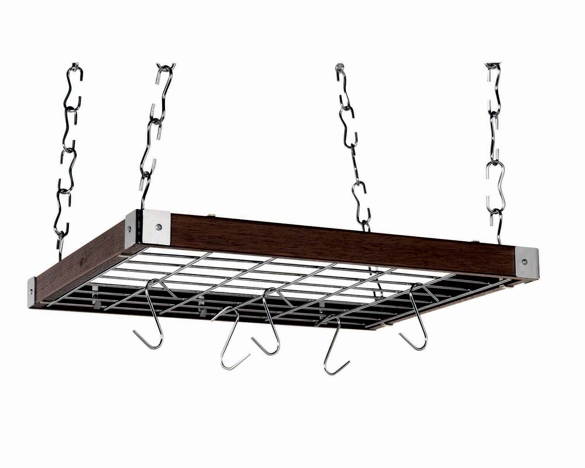 Concept Housewares PR-49293 Square Ceiling Rack - Espresso Wood 23'' X 19'',