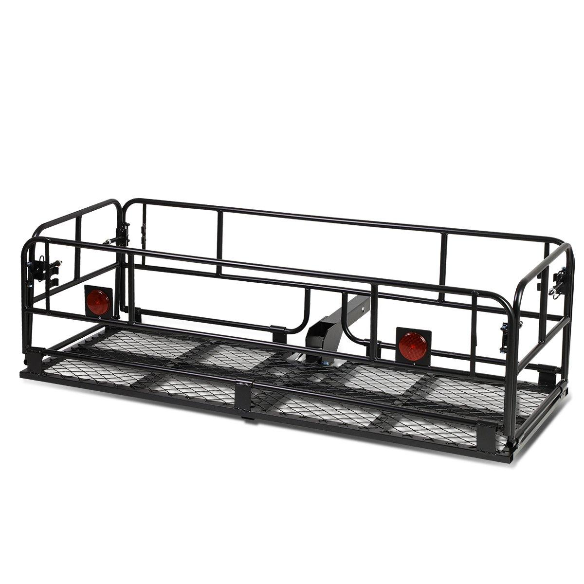 2' Hitch Fold-Up Cargo Basket Baggae/Luggage Box Carrier Rack (Powdered Coated Black) Auto Dynasty