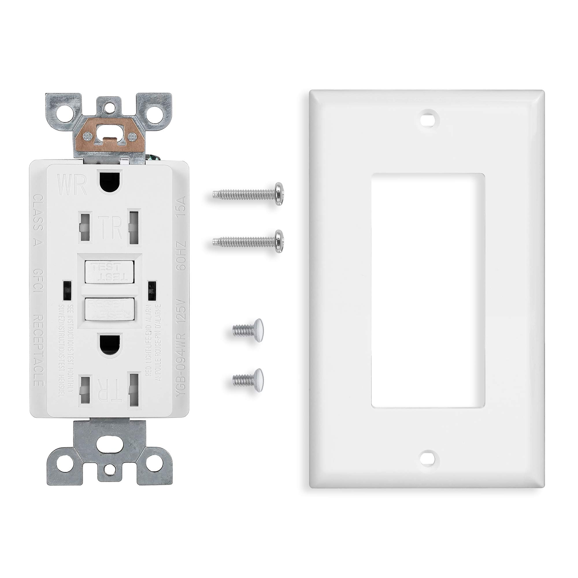 10 Pack - GFCI Duplex Outlet Receptacle - Tamper Resistant & Weather Resistant 15-Amp/125-Volt, Self-Test Function with LED Indicator - UL Listed, cUL Listed - Wall Plate and Screws Included, White by Dependable Direct (Image #8)
