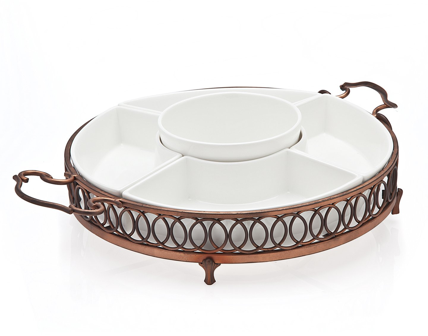 Godinger Hanover 5 Part Relish Server, Copper 96621