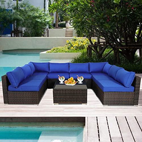 Outdoor Rattan Brown Couch Wicker 9pcs-B Sectional Conversation Sofa Set Lawn Garden Patio Furniture Set Jetime