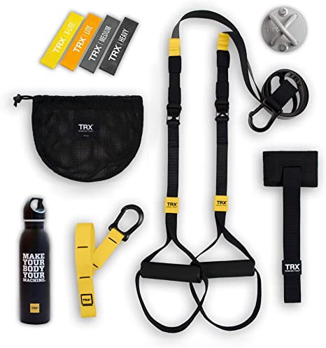 Paquete TRX GO: Incluye entrenamiento en suspensión GO, entrenamiento Xmount, juego de entrenamiento de 4 mini bandas y botella de agua de acero ...