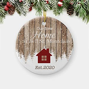Artgearify New Home Ornaments 2020, 2021 Our First Christmas New Home Wooden Housewarming Xmas, Personalized Circle Christmas Ornament