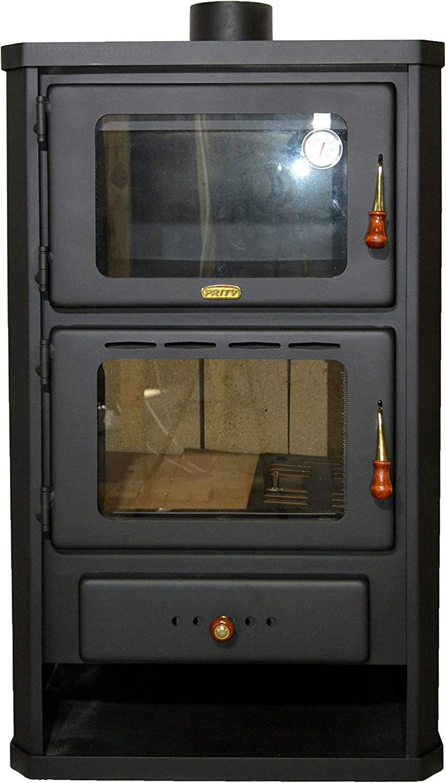 Estufa de leña con horno, estufa de cocina, 14 kW de potencia de calentamiento