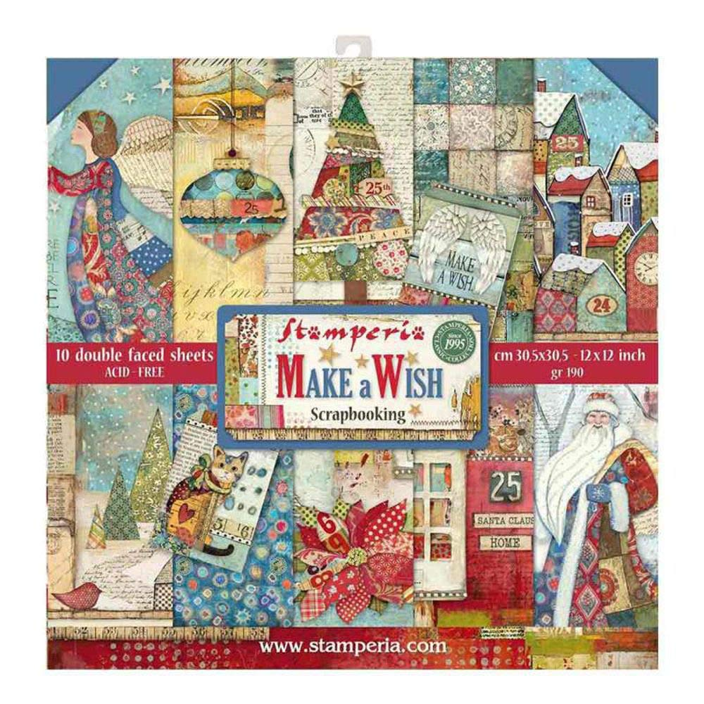 """FREE 1st Class Post Stamperia Christmas Vintage Double-Sided 8/""""x8/"""" Paper Pad"""