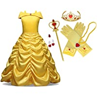 KaleaBoutique Beauty and The Beast Gown Princess Belle Costume Halloween Party Cosplay Girls 7 PC Dress Up Set