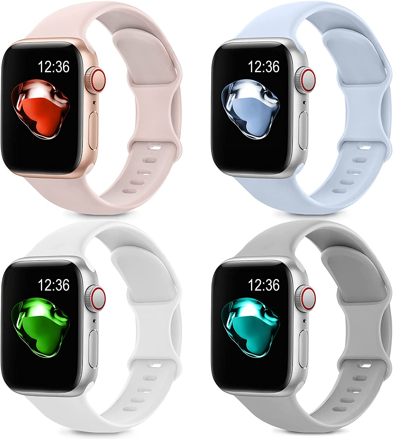 4 Pack Sport Silicone Bands Compatible with Apple Watch Bands 38mm 40mm Women Men, Soft Replacement Strap Band Compatible for iwatch Series 6 SE 5 4 3 2 1(38MM/40MM,Pink+Blue+Gray+White)