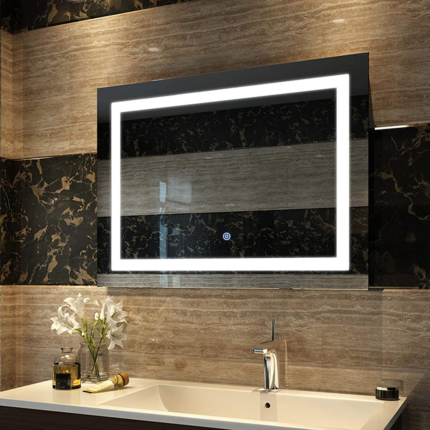 EMKE 36 x 28 Inch LED Bathroom Vanity Mirror Dimmable Large Backlit Mirror with Lights for Wall, Smart Touch Switch, Brightness Memory, IP44 Waterproof, 90+ CRI, UL Listed, Horizontal or Vertiacl