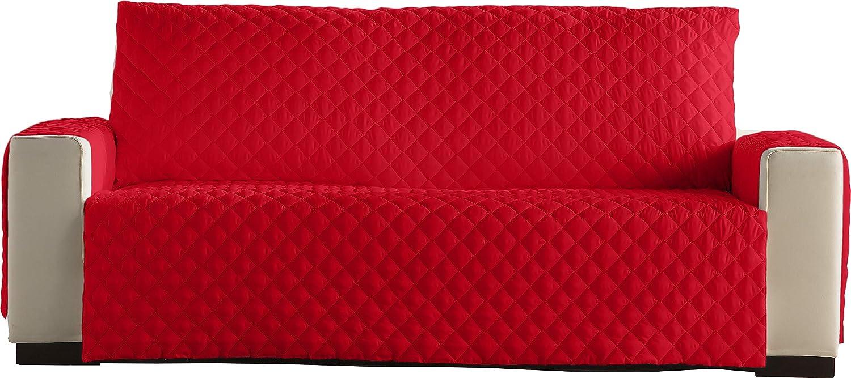 Lucena Cantos - Cubre Sofá Reversible, (Rojo/Negro, 4 Plazas)