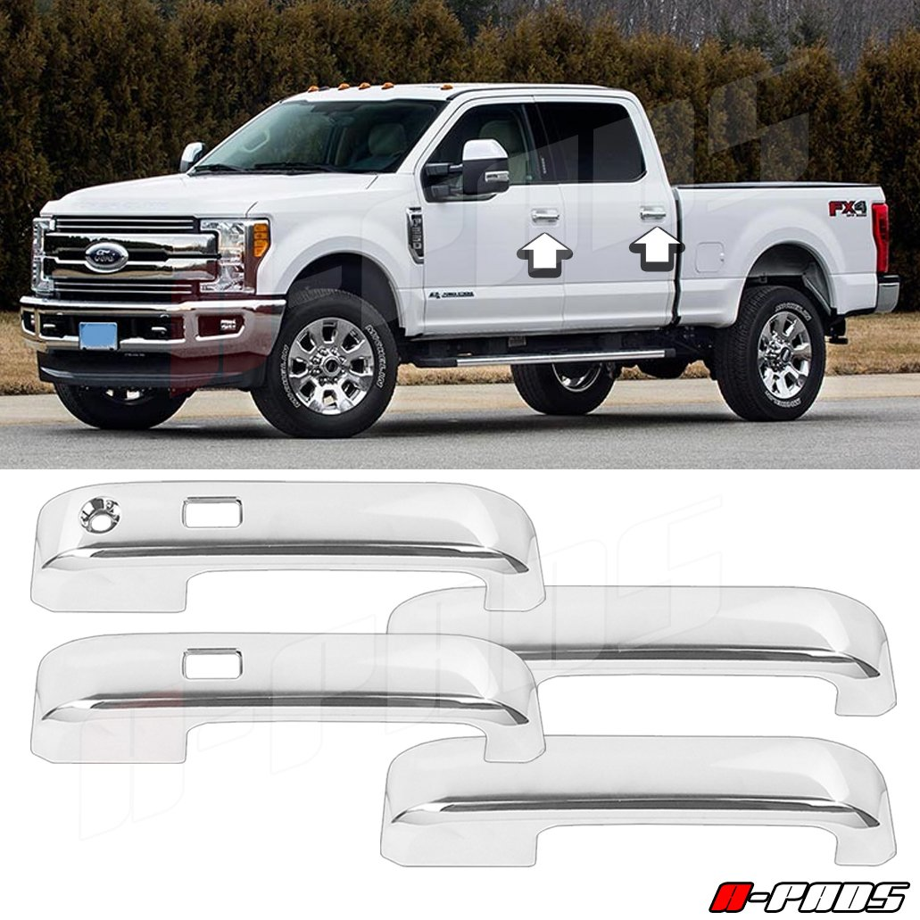 A-PADS Chrome Cover For 2017-2018 FORD F250 F350 F450 4 Door Handles With Smart Keyhole Without Passenger Smart Keyhole