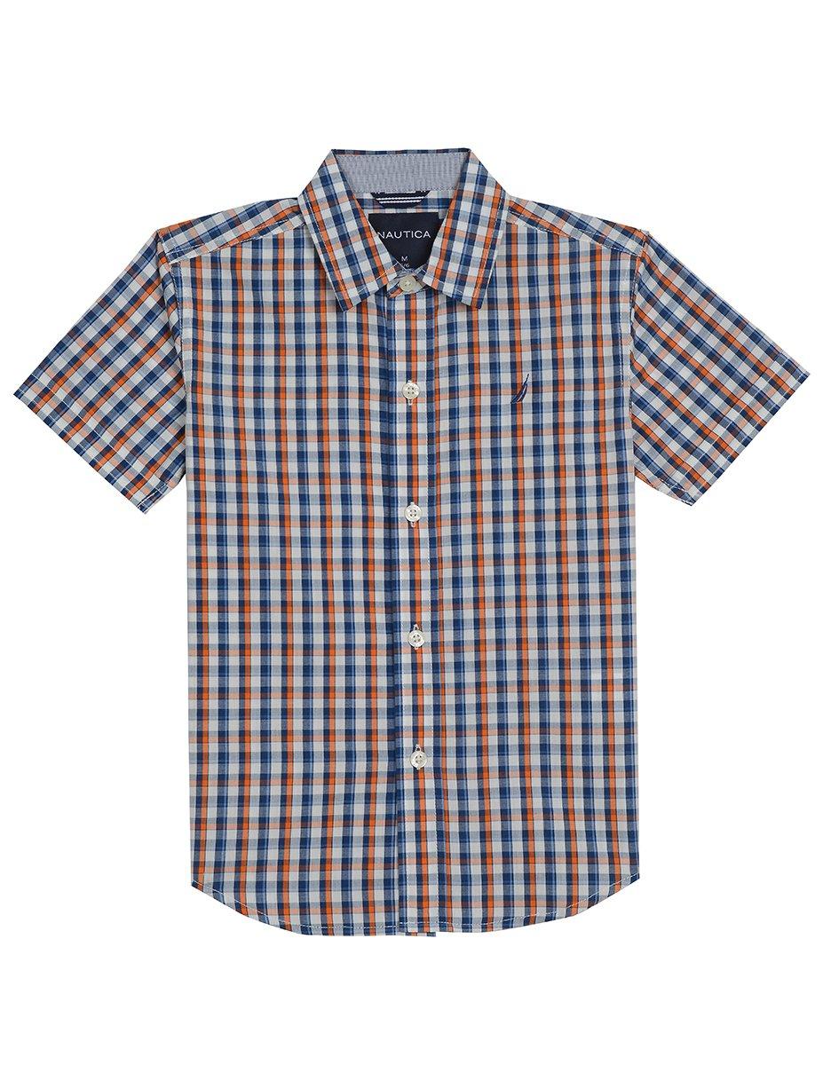 Nautica Big Boys' Short Sleeve Plaid Woven Shirt, Firework, Large (14/16)
