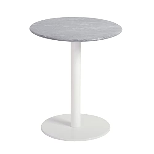 Euro Style Tammy Occasional Table, White Marble Brushed Stainless Steel