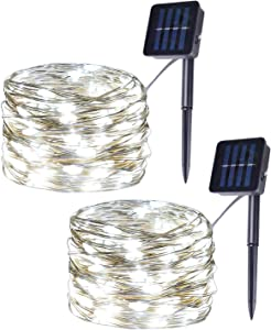 Set of 2 DIY Flexible Solar Copper Wire String Lights, 100LED White Fairy Lights, 8 Modes Christmas Lights for Indoor, Outdoor, Room, Party, Garden Decor