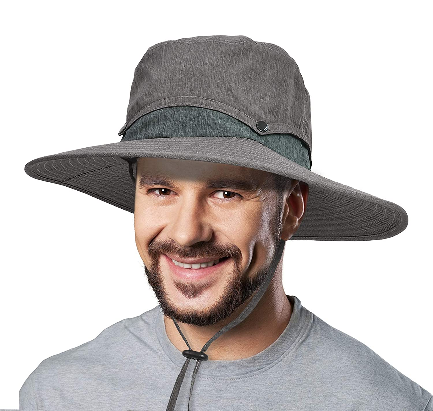 Breathable Sun Hat with Removable Crown UV Protection Outdoor Boonie Hat for Fishing Hiking Golfing Hunting Safari Travel Beach