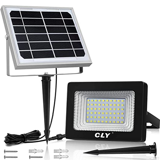 Foco Solar Exterior, Foco Led Solar Jardín, lluminacion Exterior Solar,60 LED 6500K IP66 Impermeable Luz Solar Exterior,Lampara Solar para Jardins, ...