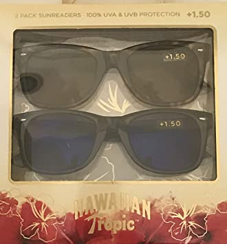 3c54b854f6 Image Unavailable. Image not available for. Color  Hawaiian Tropic 2 Pack  Sun Readers Premium Reading Sun Glasses ...