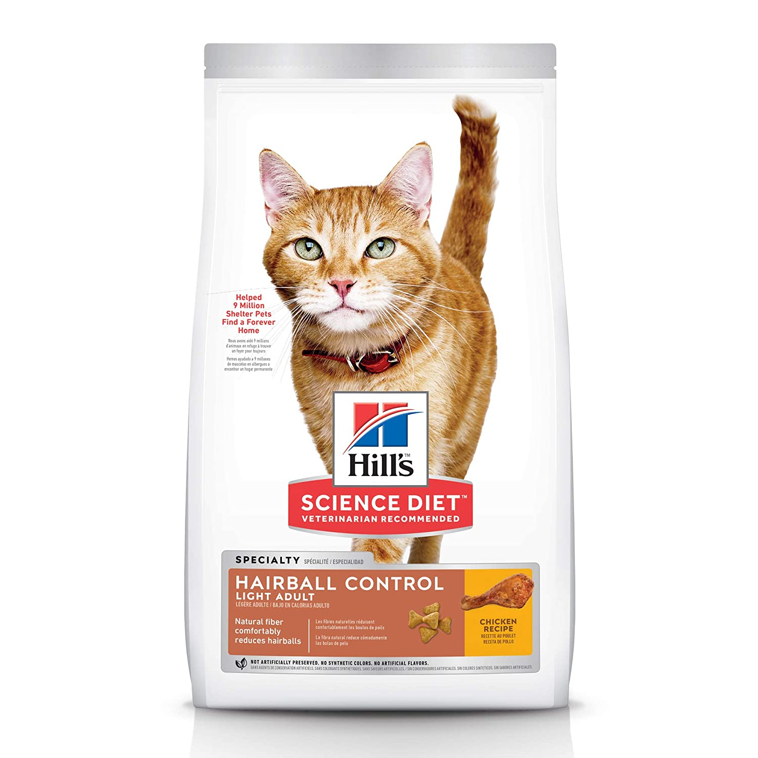 Hills Science Diet Dry Cat Food, Adult, Hairball Control, Light, Chicken Recipe for Weight Management
