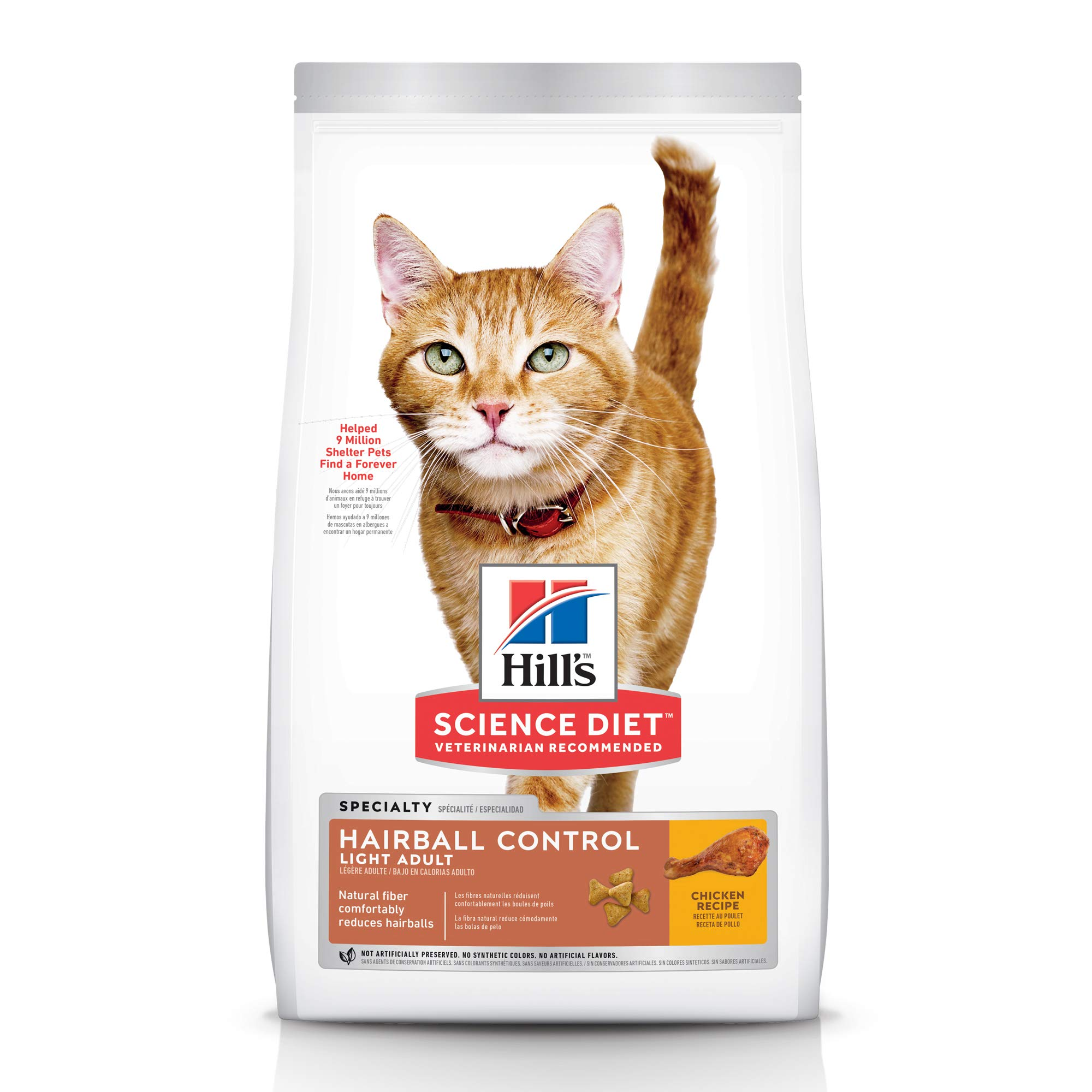Hill's Science Diet Dry Cat Food, Adult, Hairball Control, Light for Healthy Weight & Weight Management, Chicken Recipe, 15.5 lb Bag by Hill's Science Diet