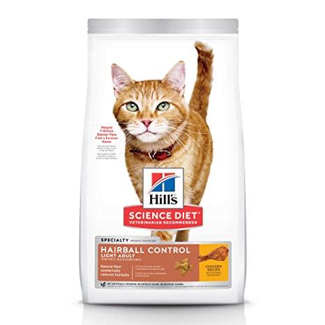 Hill's Science Diet Dry Cat Food, Adult, Hairball Control, Light for Healthy Weight
